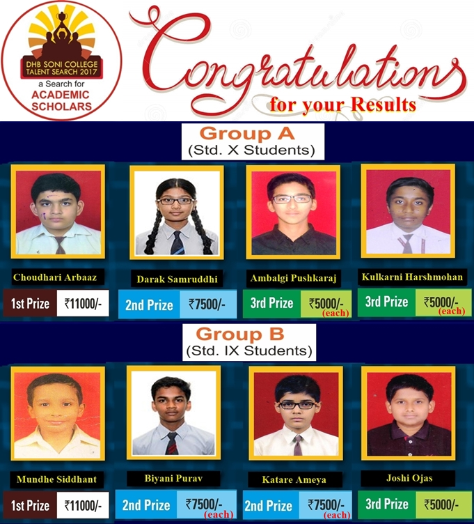 Result - (Group A) X & (Group B) IX - DHB Soni College Talent Search 2018
